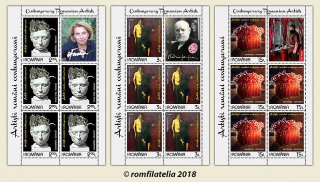"""Emisiunea de mărci poştale """"Artişti români contemporani"""""""