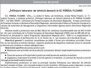 """""""Înfiinţare laborator de tehnică dentară la SC PÂRÂUL FLOAREI SRL"""""""