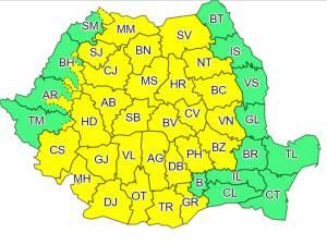 Cod galben de furtună în județul Suceava, timp de trei zile