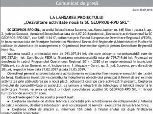 """LA LANSAREA PROIECTULUI """"Dezvoltare activitate nouă la SC GEOPROB-RPD SRL"""""""