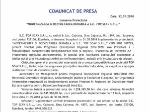 """Lansarea Proiectului """"MODERNIZAREA ŞI DEZVOLTAREA DURABILĂ A S.C. TOP SCAV S.R.L."""""""