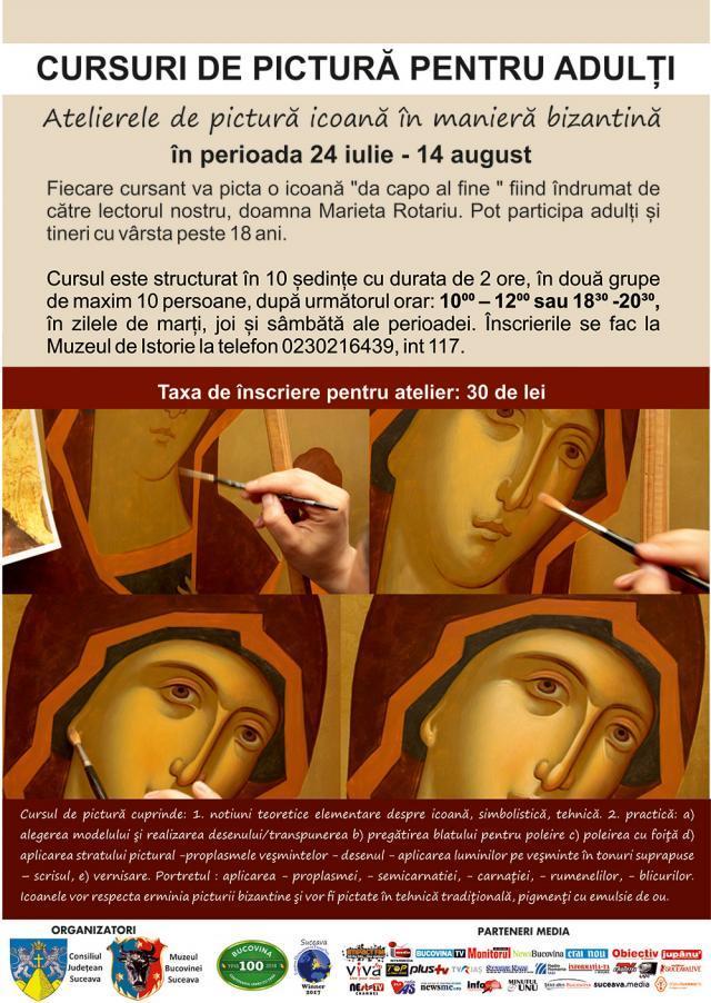 Se mai fac înscrieri la atelierul de pictură - icoană în manieră bizantină pentru adulți, la Muzeul Bucovinei