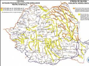 Cod portocaliu de inundații pe râuri din judeţul Suceava