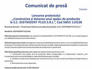 """Lansarea proiectului """"Construirea şi dotarea  unui  spaţiu  de  producţie la S.C. DISTRIDENT PLUS S.R.L. 11, Cod SMIS 114128"""