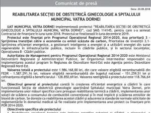 REABILITAREA SECŢIEI DE OBSTETRICĂ GINECOLOGIE A SPITALULUI MUNICIPAL VATRA DORNEI