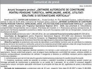 """Anunț începere proiect """"OBTINERE AUTORIZATIE DE CONSTRUIRE PENTRU PENSIUNE TURISTICA, IMPREJMUIRE, ANEXE, UTILITATI EDILITARE SI SISTEMATIZARE VERTICALA"""""""