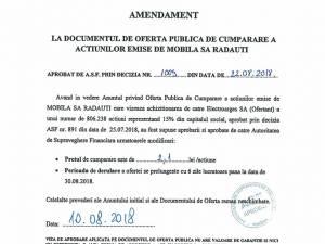 AMENDAMENT LA DOCUMENTUL DE OFERTA PUBLICA DE CUMPARARE A ACTIUNILOR EMISE DE MOBILA SA RADAUTI