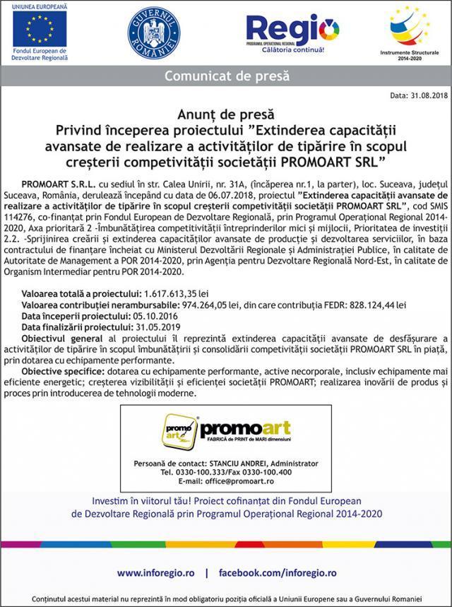 """Anunț de presă Privind începerea proiectului """"Extinderea capacității avansate de realizare a activităților de tipărire în scopul creșterii competivității societății PROMOART SRL"""""""
