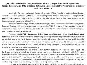 """""""CARD4ALL –Connecting Cities, Citizens and Services - Oraş accesibil pentru toţi cetăţenii"""" faza de dezvoltare, cod 3938, cofinanţat de Uniunea Europeană în cadrul Programului de cooperare teritorială URBACT III"""