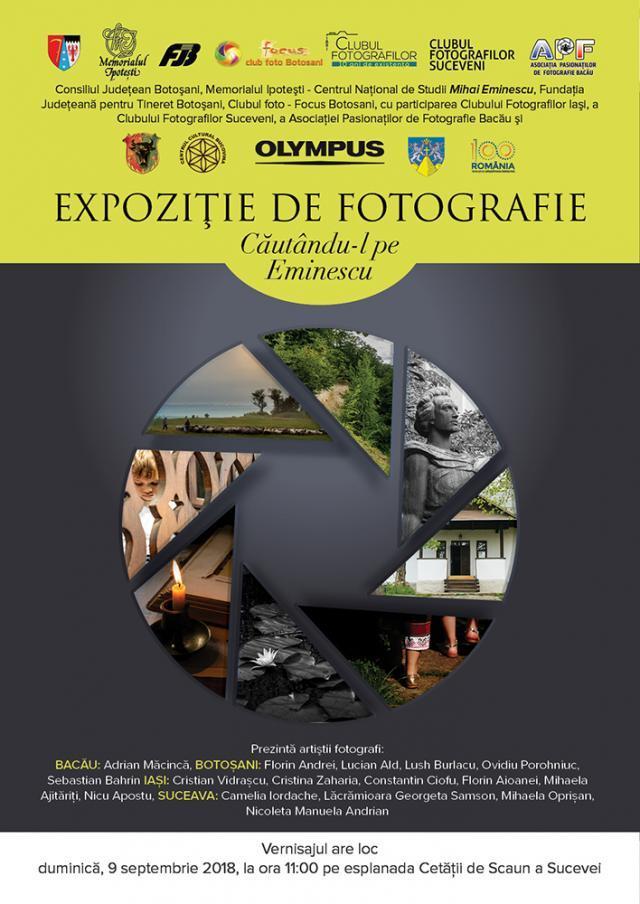 """Vernisajul expoziției de fotografie """"Căutându-l pe Eminescu"""", pe esplanada Cetății de Scaun a Sucevei"""