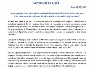 """Lansarea proiectului """"Diversificarea şi extinderea capacităţii Service Motoare Nord S.R.L. de producţie a pieselor de schimb pentru autovehicule şi motoare"""""""