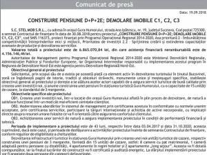 CONSTRUIRE PENSIUNE D+P+2E; DEMOLARE IMOBILE C1, C2, C3