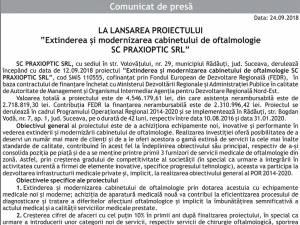 """LA LANSAREA PROIECTULUI """"Extinderea şi modernizarea cabinetului de oftalmologie SC PRAXIOPTIC SRL"""""""