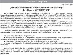 """""""Achiziție echipamente în vederea dezvoltării activității de editare a SC TIPOART SRL"""""""