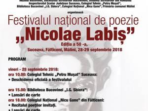 """Festivalul naţional de poezie """"Nicolae Labiş"""", la Suceava, Fălticeni și Mălini"""