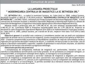 """LA LANSAREA PROIECTULUI """" MODERNIZAREA CENTRULUI DE IMAGISTICĂ LA SC BETHESDA SRL"""""""