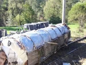 Cisterna s-a rasturnat pe calea ferata