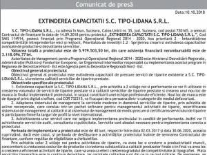 EXTINDEREA CAPACITATII S.C. TIPO-LIDANA S.R.L.