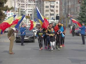 Sosirea grupului de alergători militari și civili de la Botoşani la Suceava