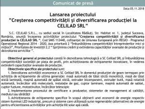 """Lansarea proiectului  """"Creșterea competitivității și diversificarea producției la CELILAD SRL"""""""