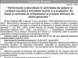 Performanţă şi dezvoltare în activitatea de spălare şi curăţare (uscată) a articolelor textile şi a produselor din blană cu achiziţia de echipamente şi produse software de ultimă generaţie