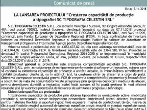 """LA LANSAREA PROIECTULUI """"Creşterea capacităţii de producţie a tipografiei SC TIPOGRAFIA CELESTIN SRL"""""""