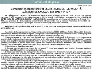 """Comunicat începere proiect """"CONSTRUIRE SAT DE VACANŢĂ MĂRŢIŞORUL CACICA"""", cod SMIS 114107"""