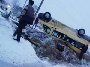 Microbuzul implicat în accident