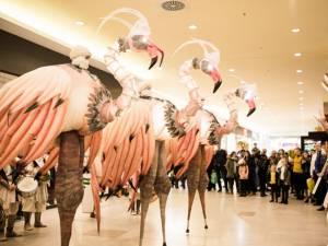 """Trupa franceză de street theatre Remue Ménage a cucerit instant publicul cu showul """"Flamingo Roz"""""""