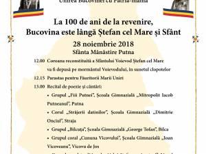 """""""La 100 de ani de la revenire, Bucovina este lângă Ştefan cel Mare şi Sfânt"""""""