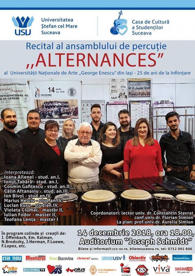 """Ansamblul de percuție """"Alternances"""", recital la USV"""