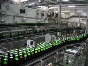 Sticle pe bandă în secţia de îmbuteliere a fabricii Bermas