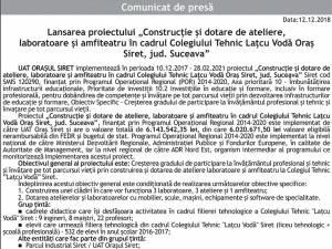 """Lansarea proiectului """"Construcție și dotare de ateliere, laboratoare și amfiteatru în cadrul Colegiului Tehnic Lațcu Vodă Oraș Siret, jud. Suceava"""""""
