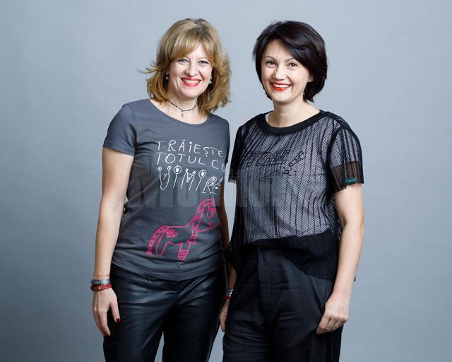 """Oana Gheorghiu şi fălticeneanca Carmen Uscatu, care prin Asociaţia """"Dăruieşte Viaţă"""" strâng din donaţii şi sponsorizări banii necesari construirii primului spital de oncologie şi radioterapie pediatrică din România"""