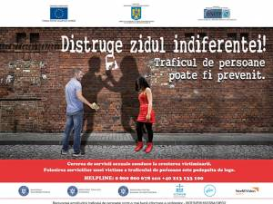 """""""Distruge zidul indiferenţei!"""", campanie naţională de prevenire a traficului de persoane în scopul exploatării sexuale"""