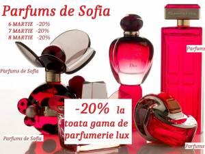 Reduceri de 20% la toată gama de parfumerie de lux, pe 6, 7 şi 8 martie, în magazinele Parfums de Sofia (PS)
