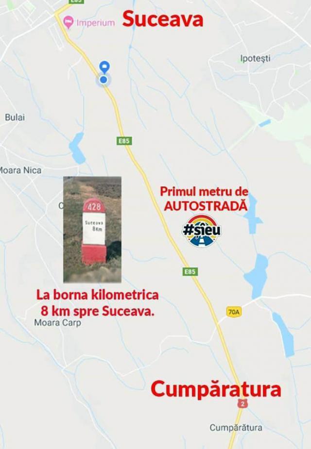 Locația primului metru de autostradă din judeţul Suceava