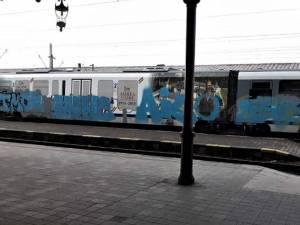Trenul a fost murdărit dintr-un capăt în altul cu un spray de culoare albastră. Foto: linia515.wordpress.com