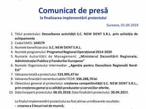 Dezvoltarea activității S.C. NEW DENT S.R.L. prin achiziția de echipamente