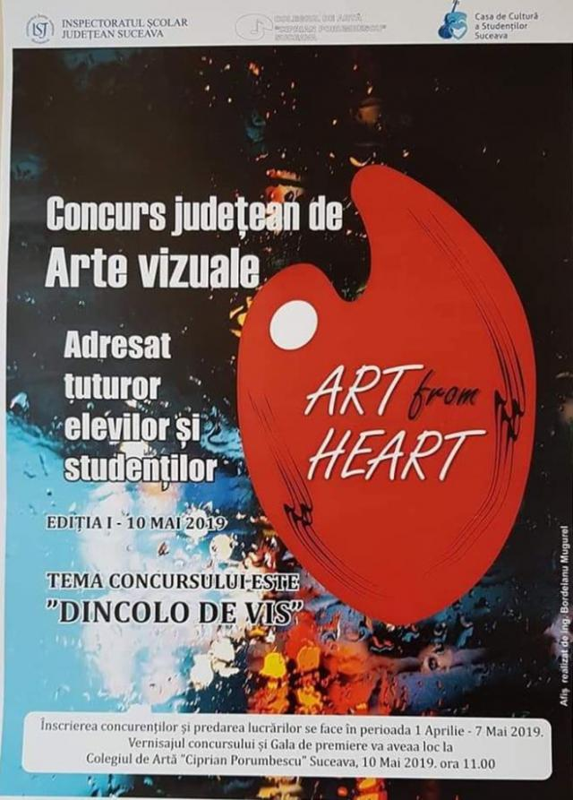 """Concursul județean de Arte vizuale """"Art from Heart"""" pentru elevi și studenți, ediția I"""