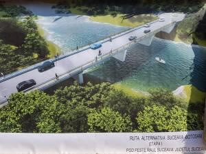 Lucrările de realizare a unui nou pod peste apa Sucevei au demarat luni dimineaţă