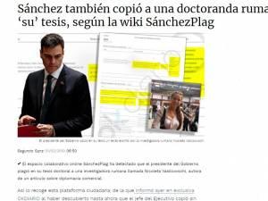 Articolul din ziarul spaniol care relatează despre plagiatul prim-ministrului
