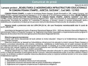 """Lansare proiect """"REABILITAREA ŞI MODERNIZAREA INFRASTRUCTURII EDUCAŢIONALE ÎN COMUNA POIANA STAMPEI, JUDEŢUL SUCEAVA"""", Cod SMIS: 121903"""