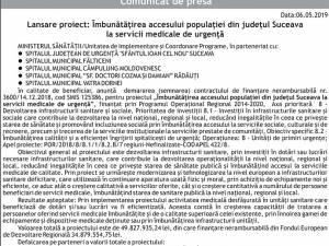 Lansare proiect: Îmbunătăţirea accesului populaţiei din judeţul Suceava la servicii medicale de urgenţă