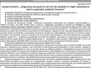 """Lansare proiect: """"Asigurarea accesului la servicii de sănătate în regim ambulatoriu pentru populaţia judeţului Suceava"""""""