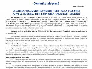 CREȘTEREA VOLUMULUI SERVICIILOR TURISTICE LA PENSIUNEA POPASUL DOMNESC PRIN EXTINDEREA CAPACITĂȚII EXISTENTE