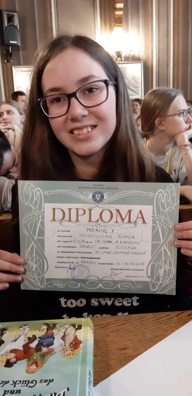 Bianca Pătrăucean - premiul I în cadrul etapei naționale a Olimpiadei de Limba Germană Modernă