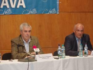 Preşedintele ALDE, Călin Popescu Tăriceanu, și președintele ALDE Suceava, deputatul Alexandru Băișanu