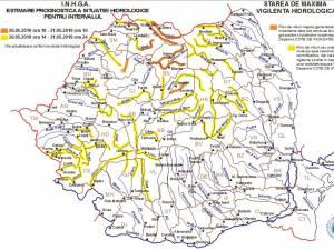 Cod galben de viituri pentru bazinele hidrografice a trei râuri din judeţul Suceava