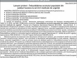 Lansare proiect : Îmbunătățirea accesului populației din județul Suceava la servicii medicale de urgență